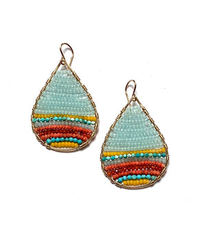 gold teardrops in turquoise, apatite, coral multi, medium