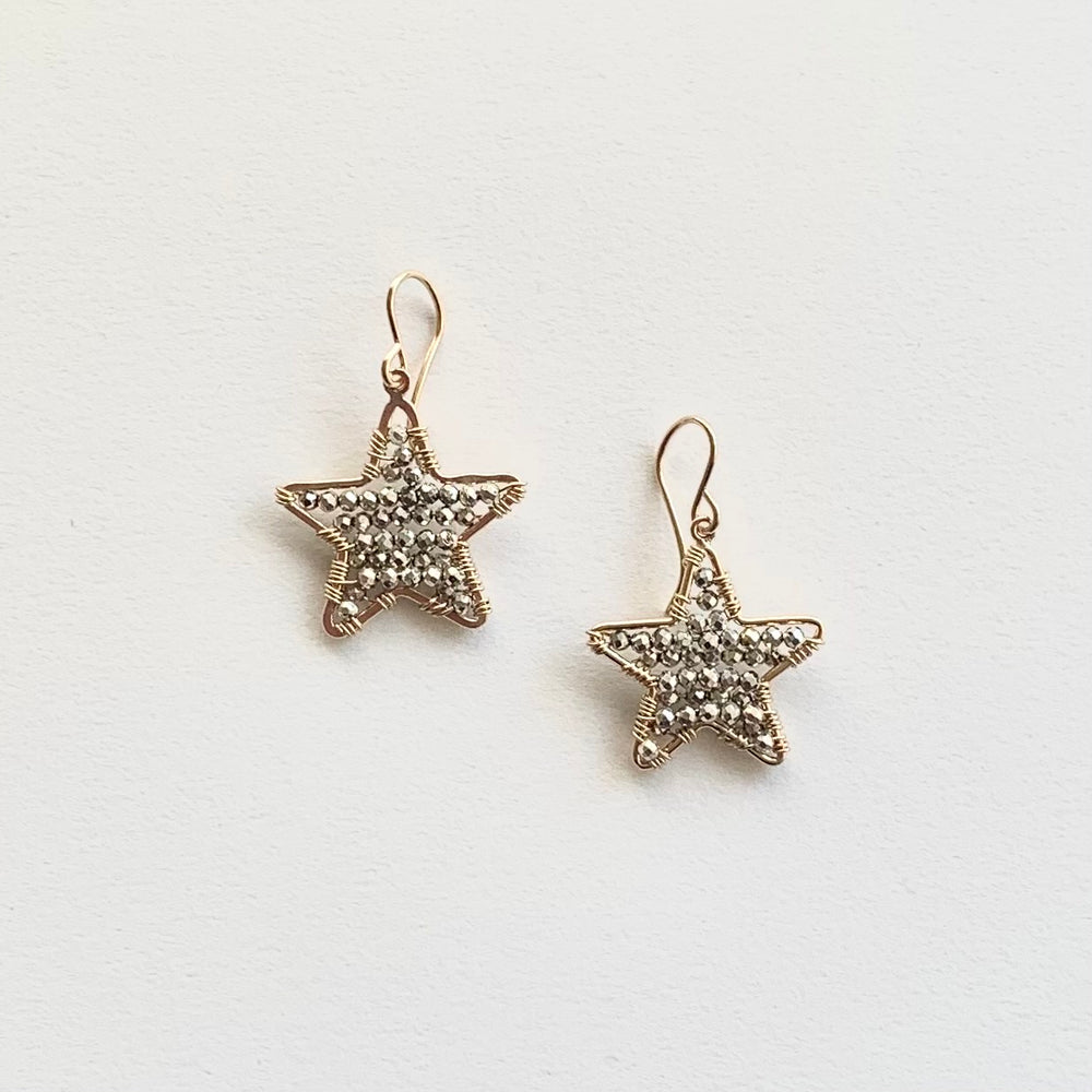 Little Star earrings in gold with silver pyrite