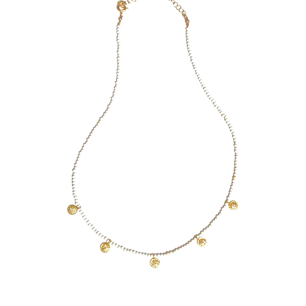 White turquoise pave diamond necklace