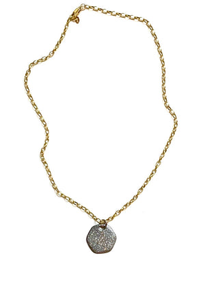 Load image into Gallery viewer, diamond hexagon silver pendant + gold chain