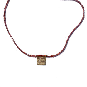 Load image into Gallery viewer, Pave diamond, gold + rhodolite necklace