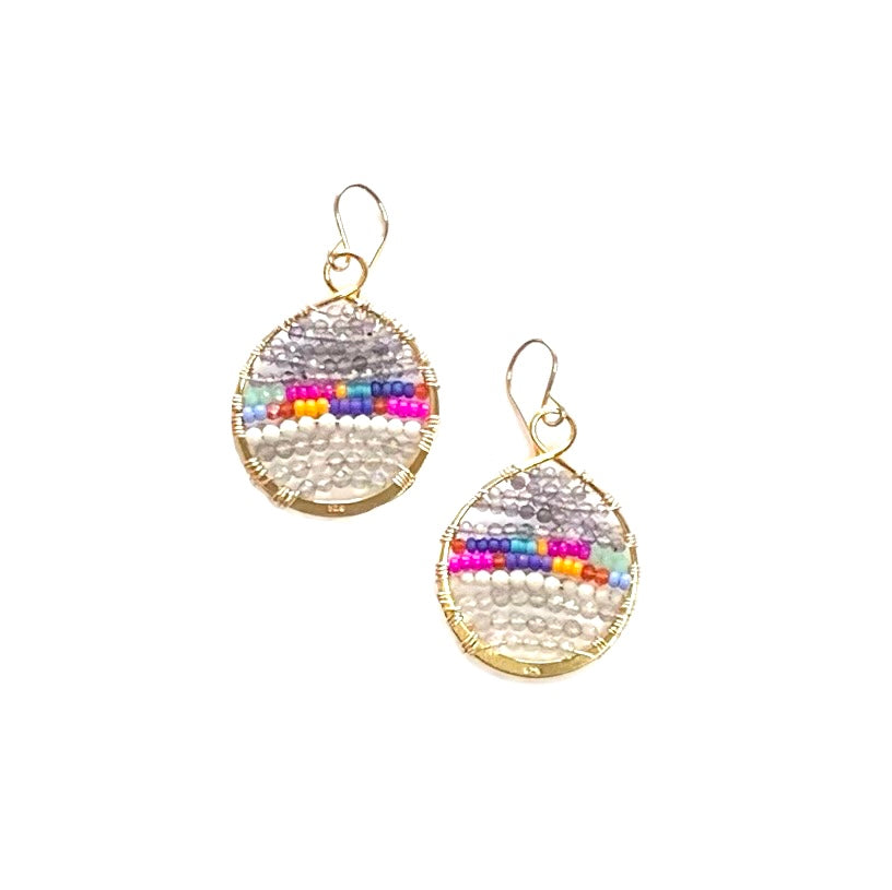 Spectrum loop earrings w/semi-precious stones in gold, medium