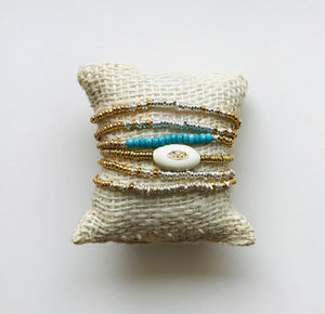 Load image into Gallery viewer, silver + gold beaded bracelet