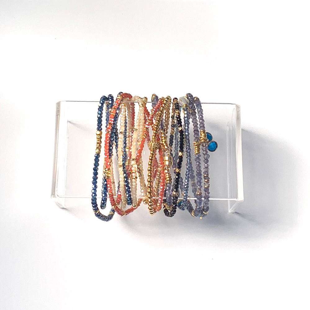 Triple wrap bracelet in ecru crystals
