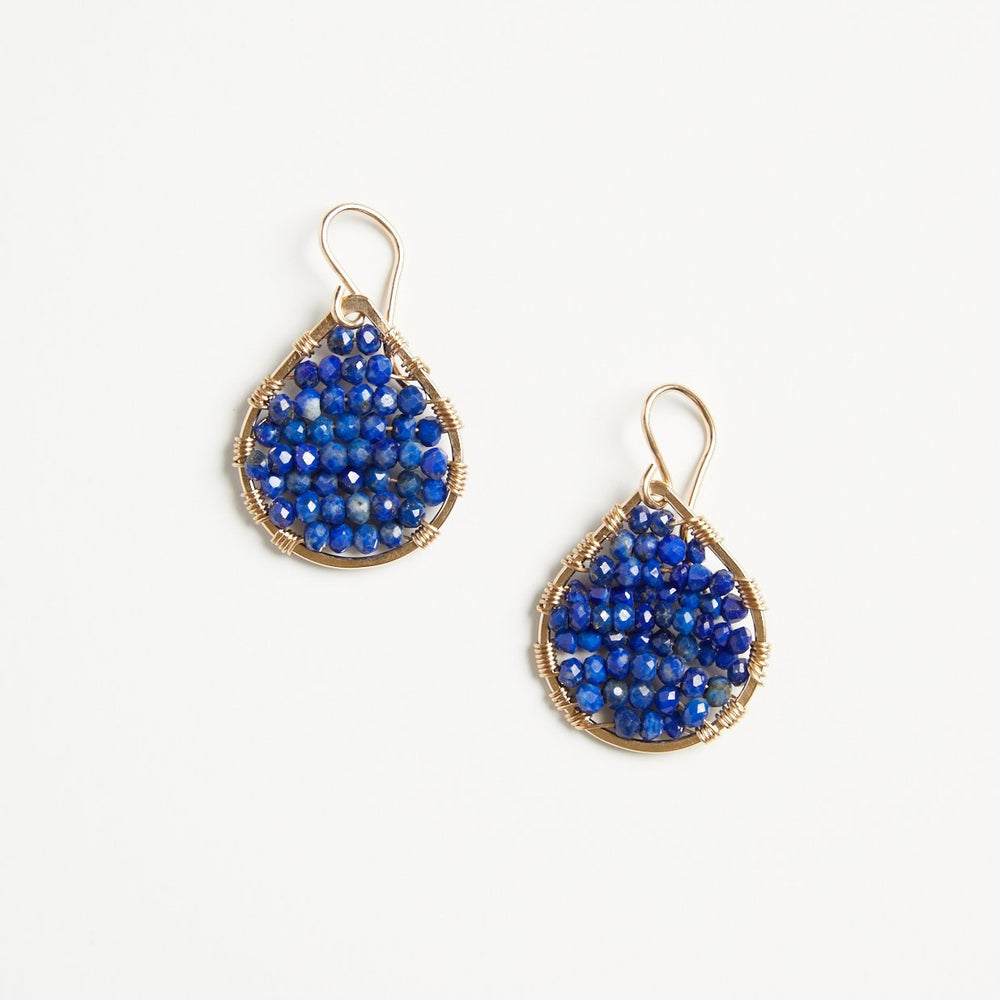 Gold teardrops in lapis, small