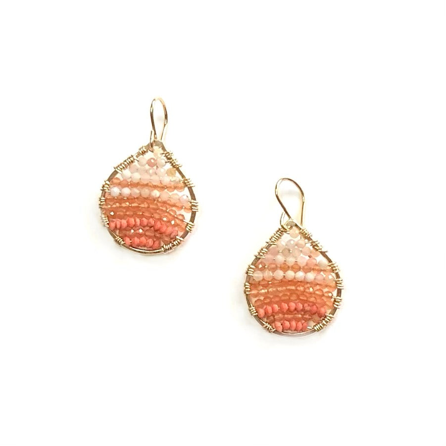 Gold teardrops in Coral ombré, small
