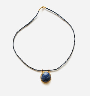 Lapis + black hematite necklace