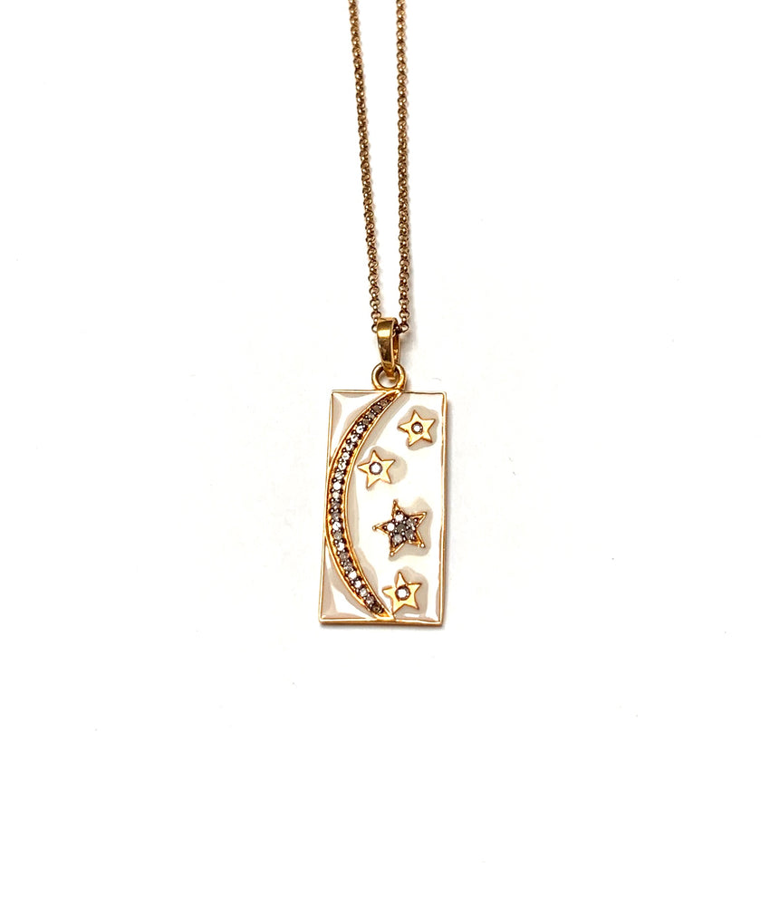 Diamond + enamel rectangle pendant gold necklace
