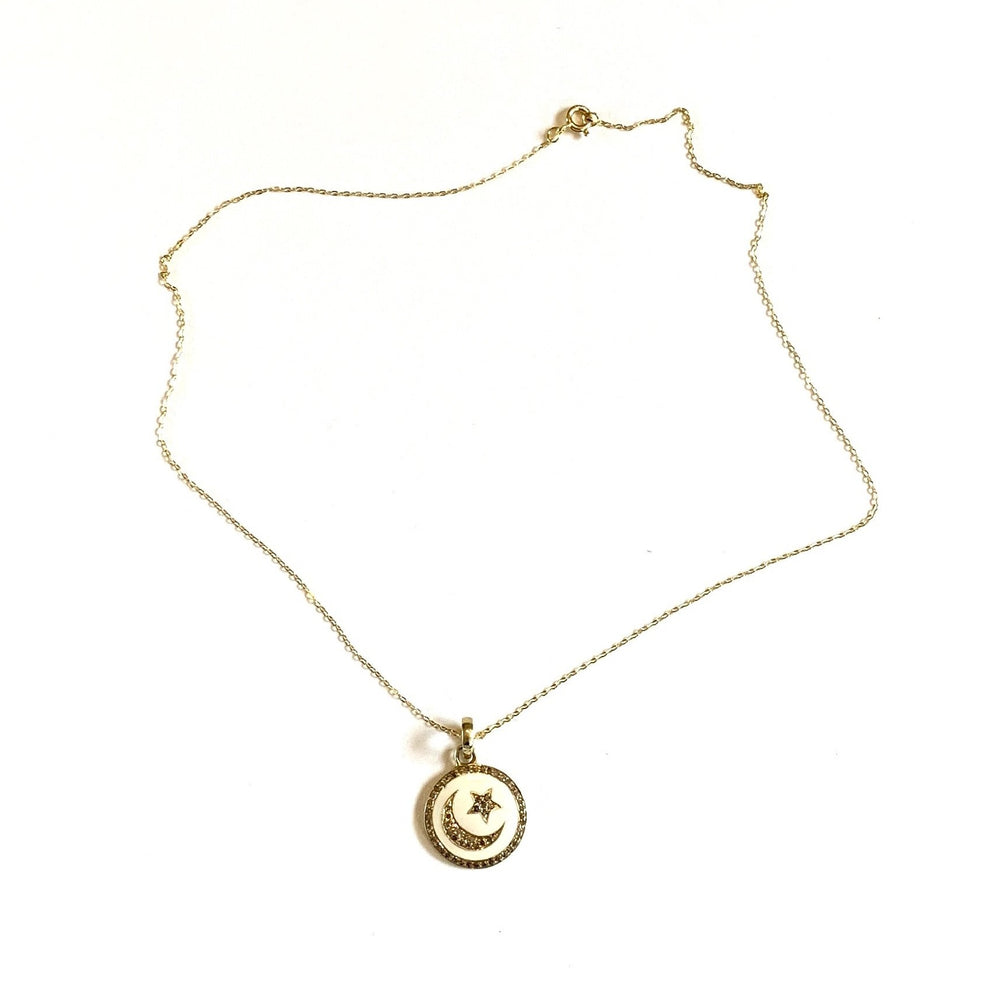 Diamond moon + star enamel pendant necklace