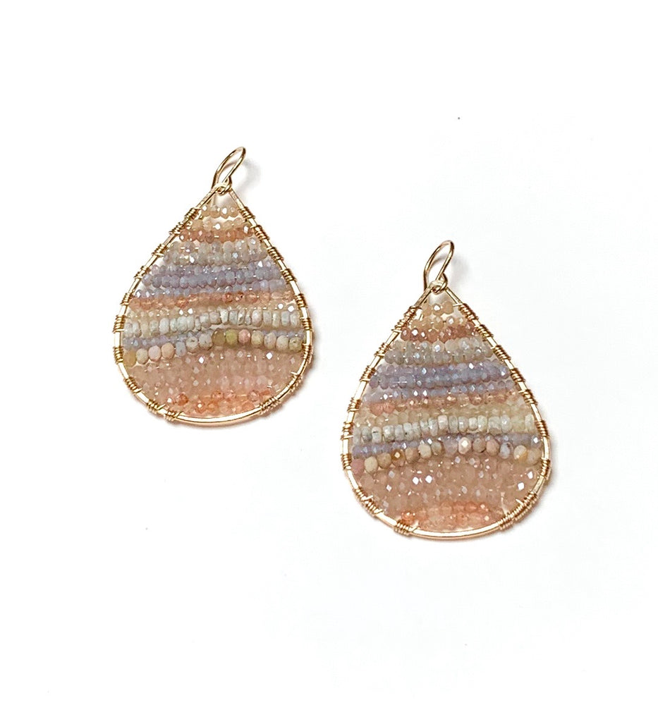Gold teardrops with peach moonstone and white sapphire