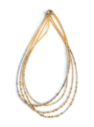 gold + crystal layering necklace