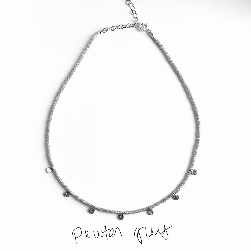 Load image into Gallery viewer, Silver disk adjustable length necklace