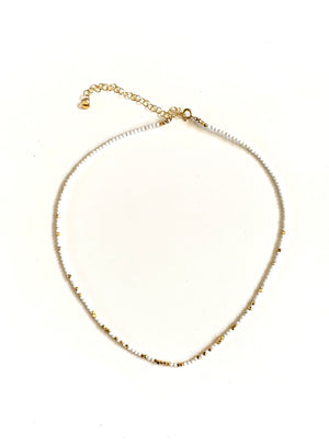 white turquoise + gold necklace