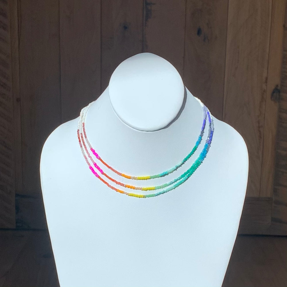 Spectrum layering necklace in white
