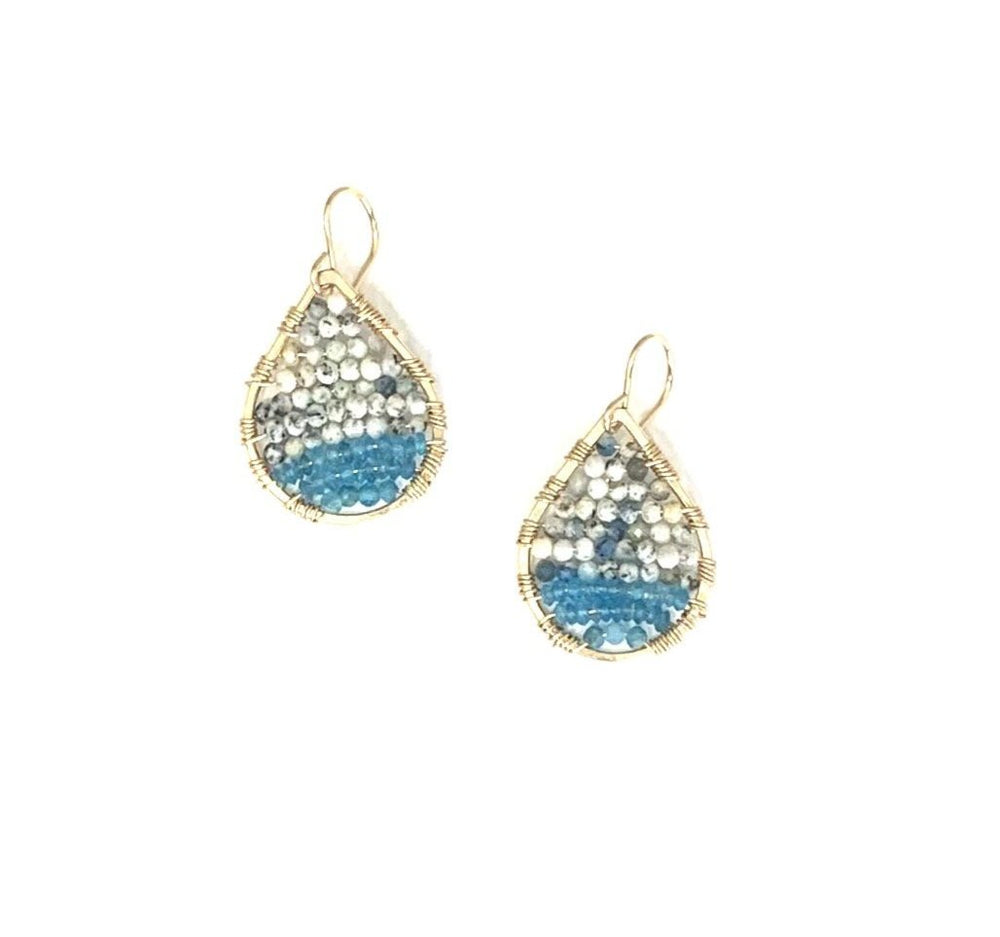 Load image into Gallery viewer, Gold teardrops w/jasper + apatite