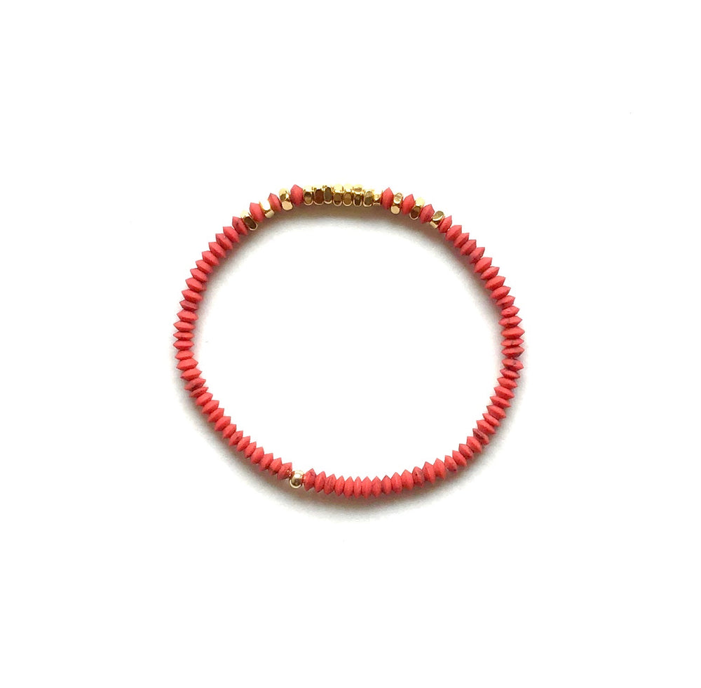 gold + red obsidian stretch bracelet