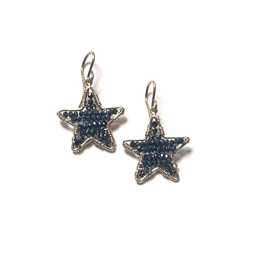Little Star earrings in gold with midnight crystals