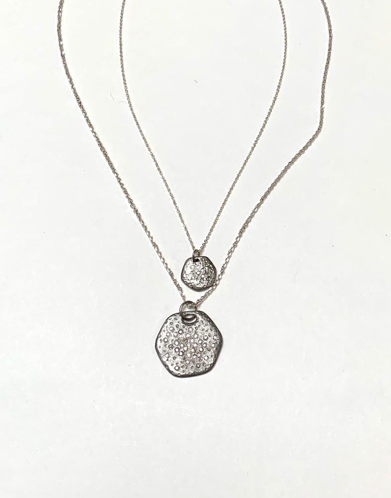 Silver diamond spray hexagon necklace, large