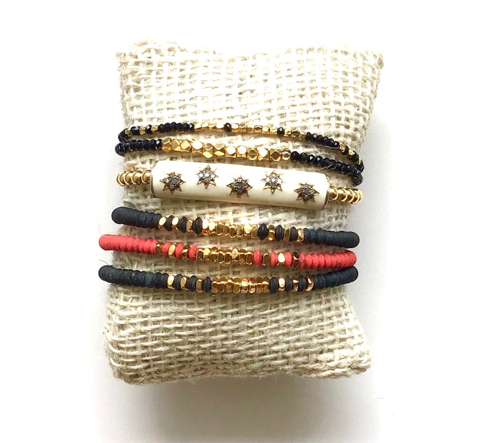 Load image into Gallery viewer, gold + black obsidan stretch bracelet