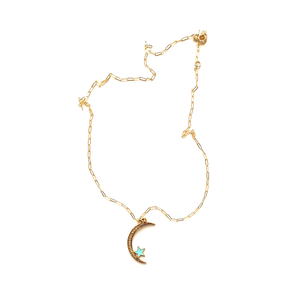 Crescent moon pave diamond pendant necklace