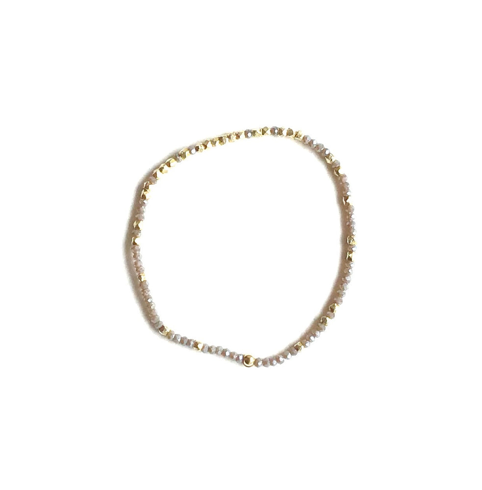 gold + olive grey micro crystal stretch bracelet