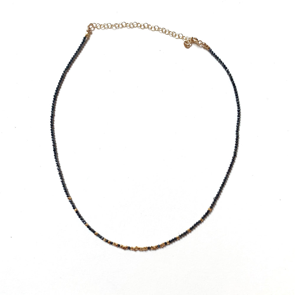 micro crystal layering necklace in jet black