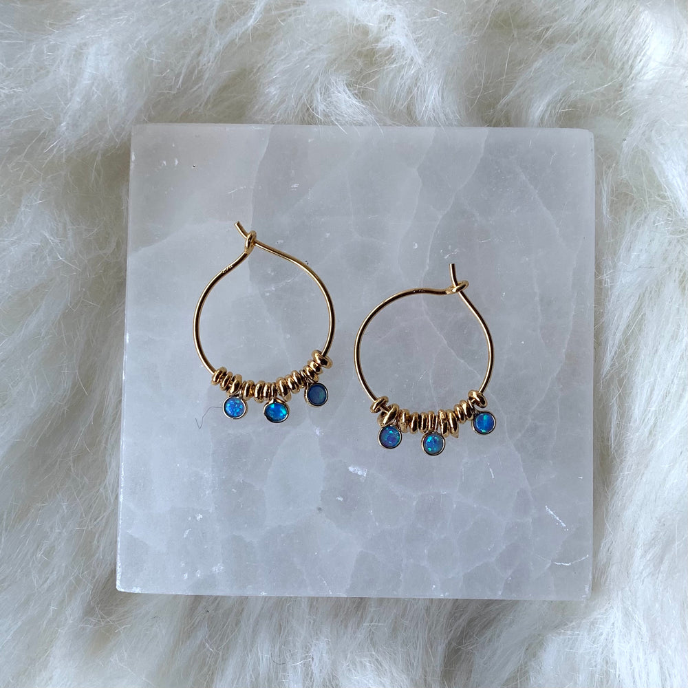 Gold vermeil hoops with opals, smallish
