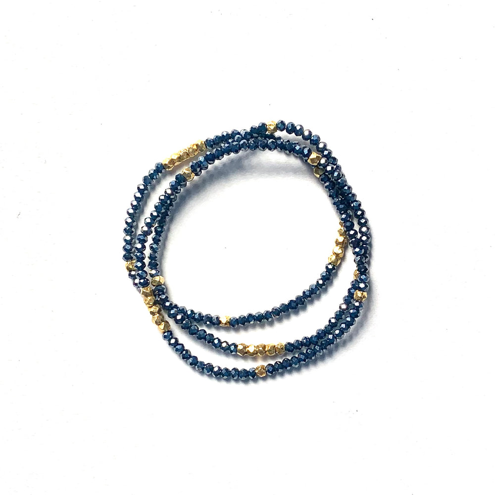 Triple wrap bracelet in midnight crystals + gold