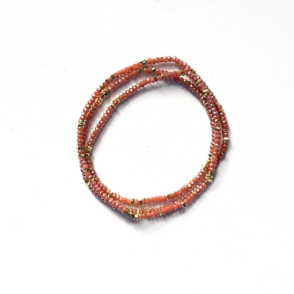 Triple wrap bracelet in carnelian red crystals
