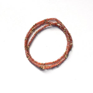 Load image into Gallery viewer, Triple wrap bracelet in carnelian red crystals
