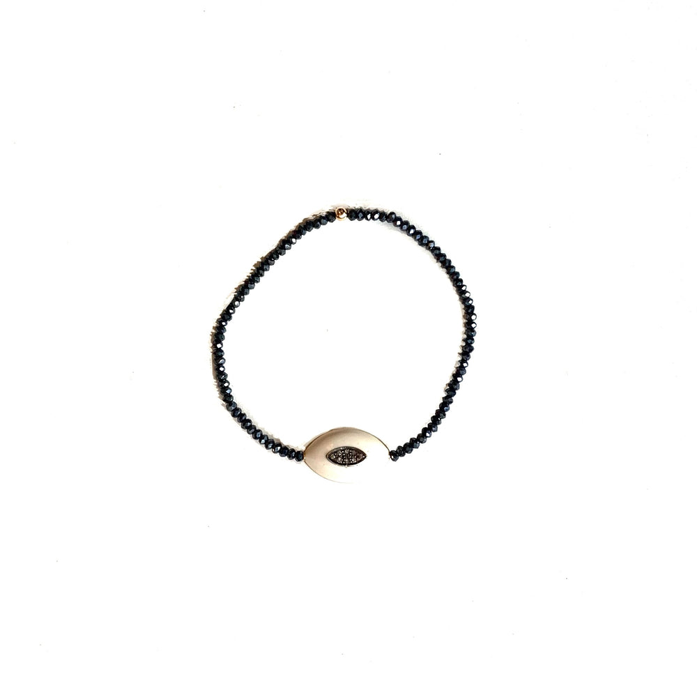 Pave + enamel eye bracelet w/midnight crystals