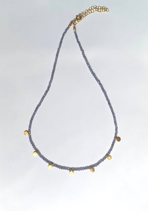 Gold disk iolite necklace