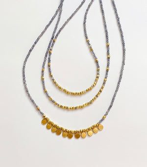 Iolite + gold nugget necklace