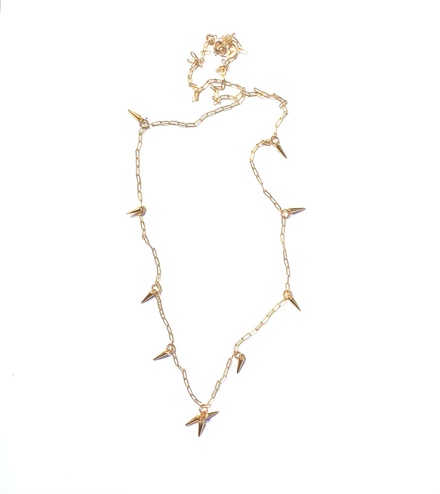 Gold spike + paper clip chain long necklace