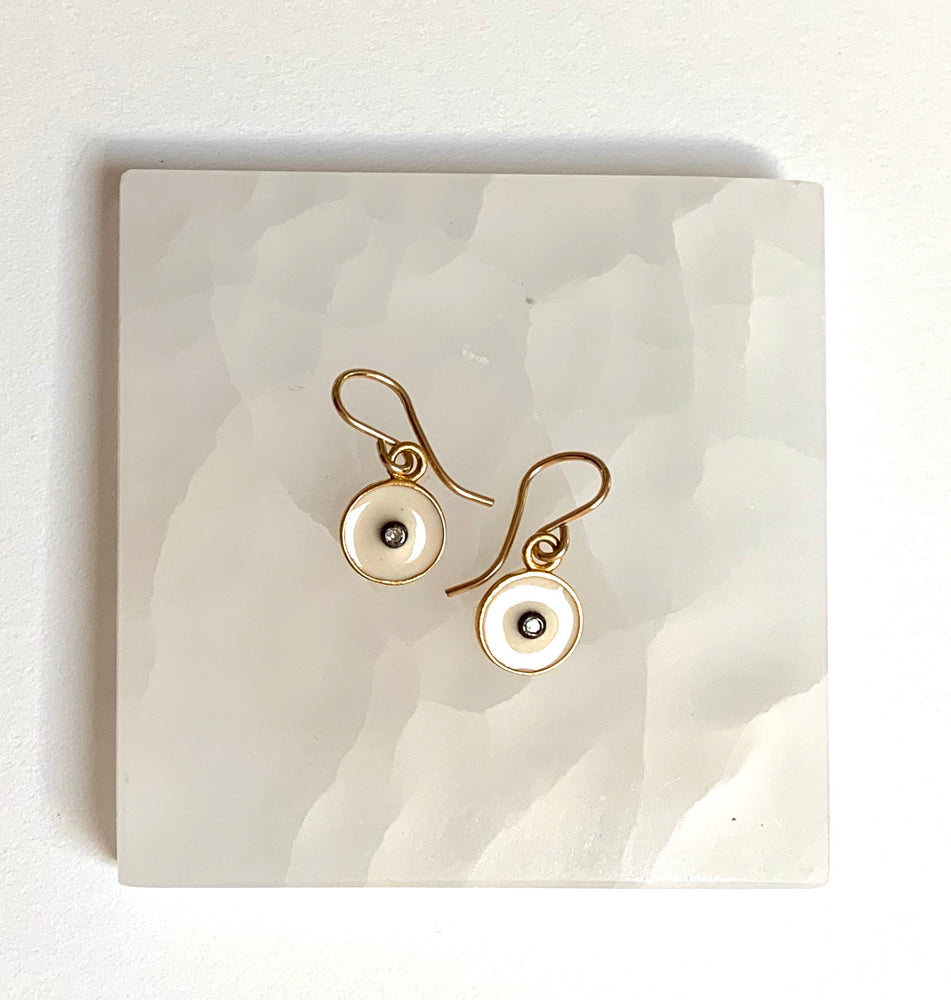 diamond + enamel circle earrings