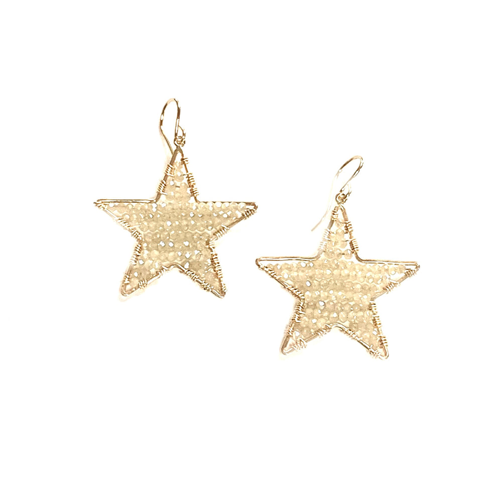 Gold star earrings in seasalt, large