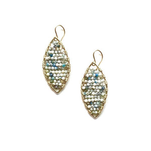 gold marquis earrings in seascape agate, small