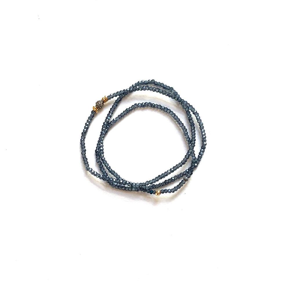 Pave diamond bead triple wrap bracelet in navy