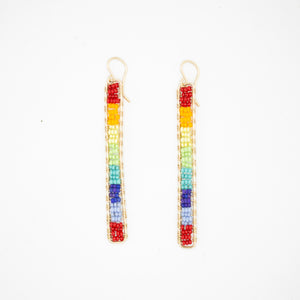 Gold stick earrings in rainbow