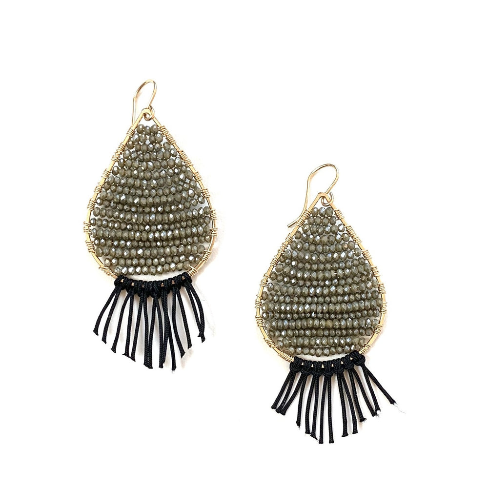 gold teardrops w/tassels in olive