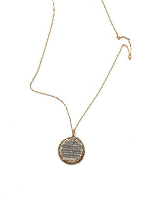 gold pendant w/white sapphire and crystal necklace