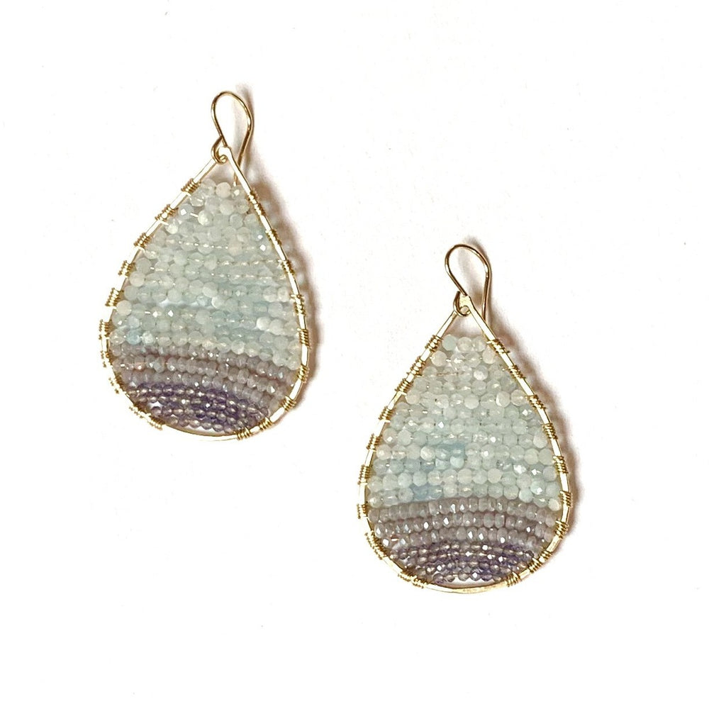 Aquamarine and sapphire Ombré teardrop earring in gold