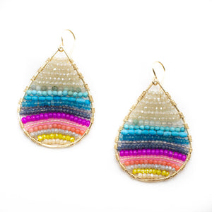 Gold teardrops technicolor rainbow, medium