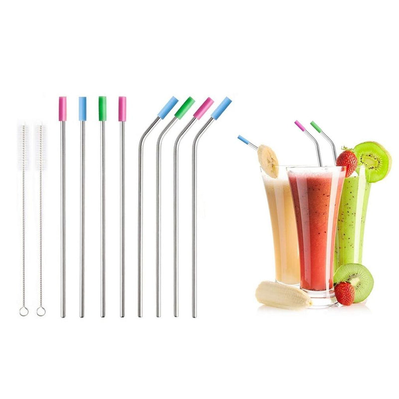 10-Pack: Stainless Steel Extra Wide Drinking Straws with Colored Silicone Tops Kitchen Essentials - DailySale