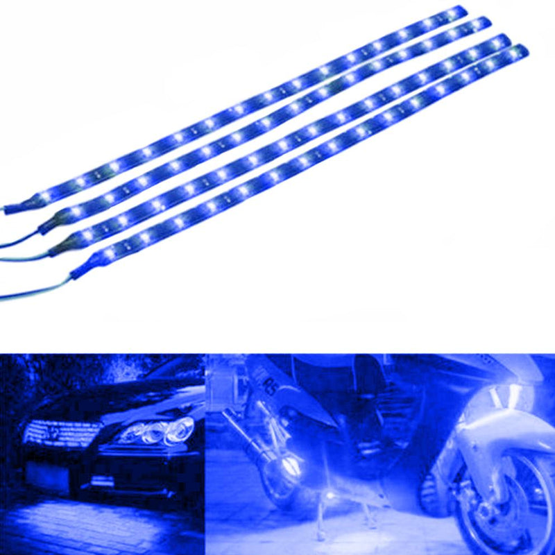 "10-Piece: 12"" 15SMD Waterproof 12V Flexible LED Strip Light For Car Automotive Blue - DailySale"