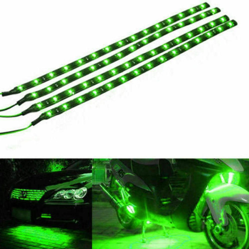 "10-Piece: 12"" 15SMD Waterproof 12V Flexible LED Strip Light For Car Automotive Green - DailySale"