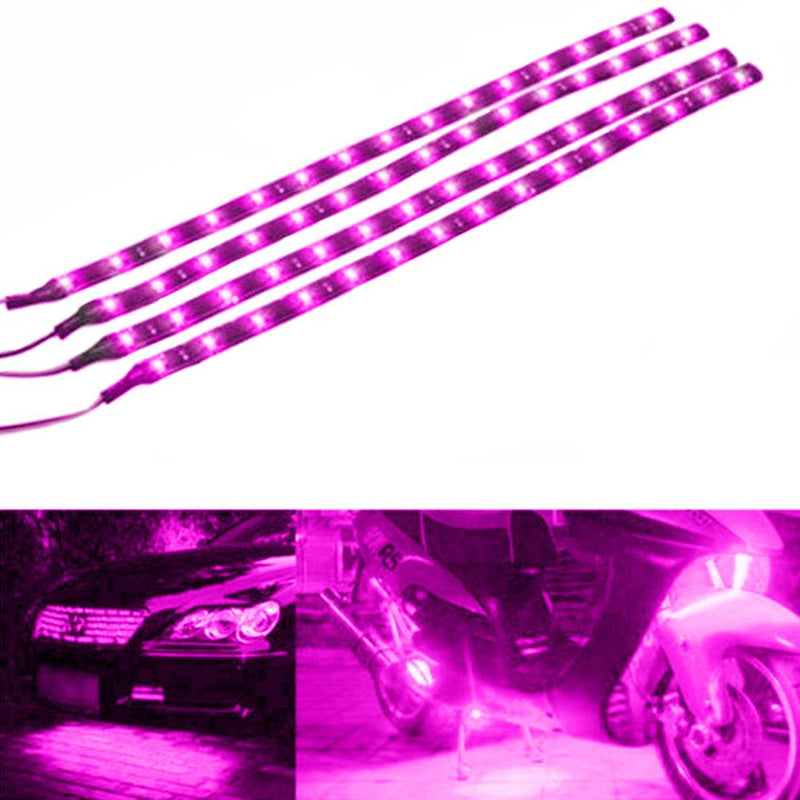 "10-Piece: 12"" 15SMD Waterproof 12V Flexible LED Strip Light For Car Automotive Pink - DailySale"