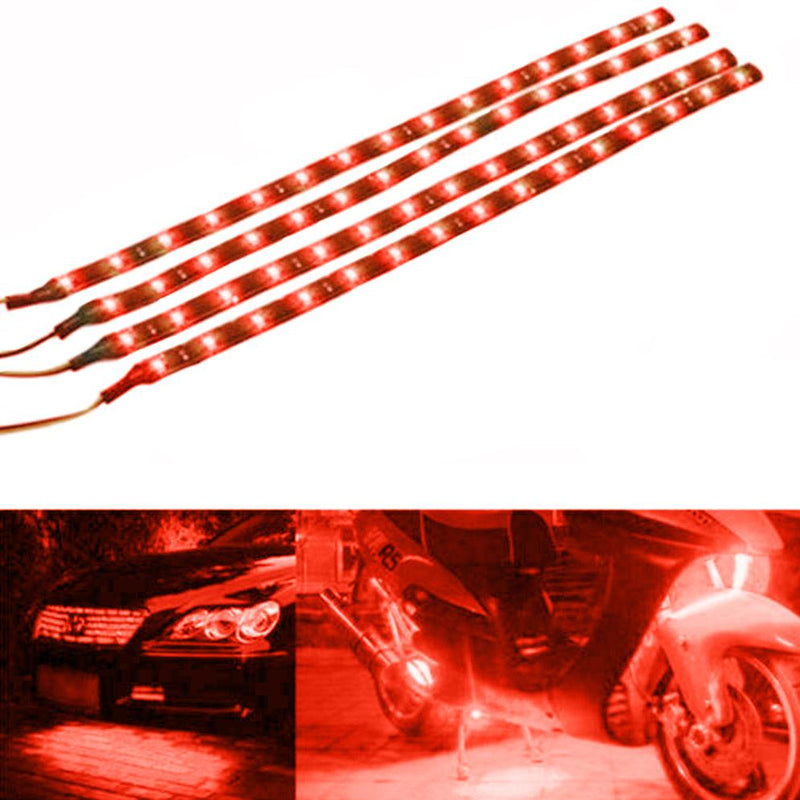 "10-Piece: 12"" 15SMD Waterproof 12V Flexible LED Strip Light For Car Automotive Red - DailySale"