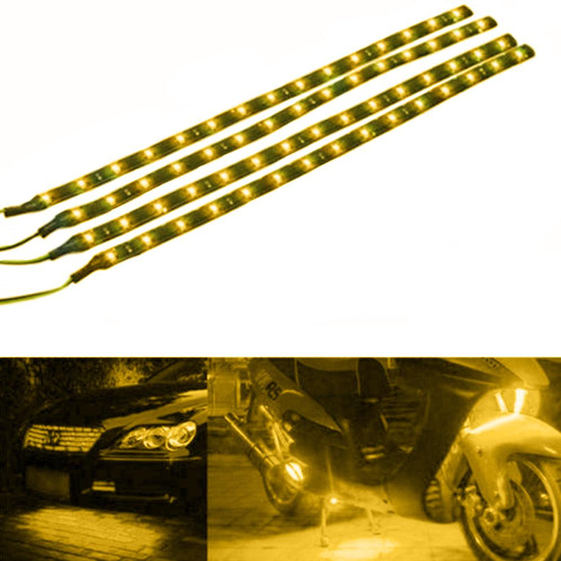 "10-Piece: 12"" 15SMD Waterproof 12V Flexible LED Strip Light For Car Automotive Yellow - DailySale"