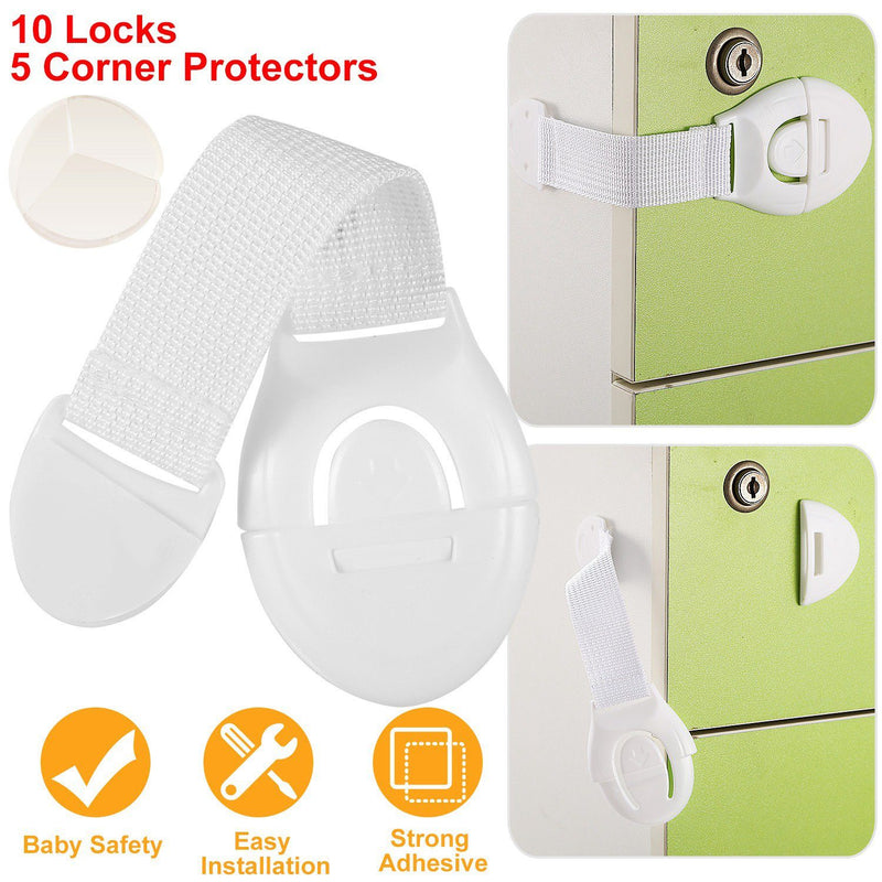 10-Pieces: Kids Safety Locks with 5 Furniture Corner Protectors Baby - DailySale